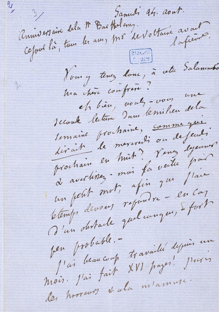 Œuvres de Gustave Flaubert (1821-1880). Bouvard et Pécuchet. Brouillonsdes chapitres 6 et 7